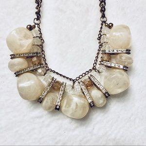 Stone Rhinestones Gold Chains Statement Necklace
